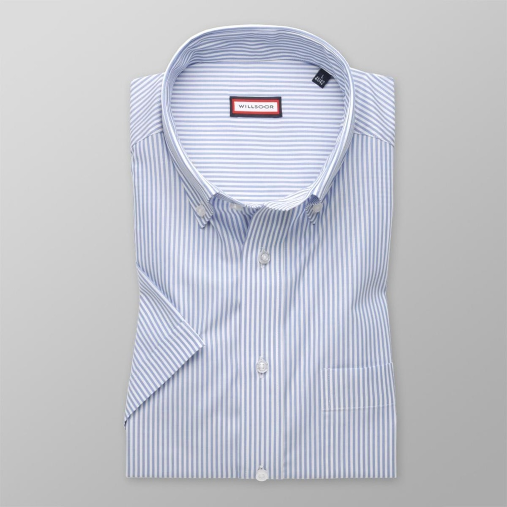 Men classic shirt with short sleeve (height 176-182) 7830 with strips a adjusting easy care