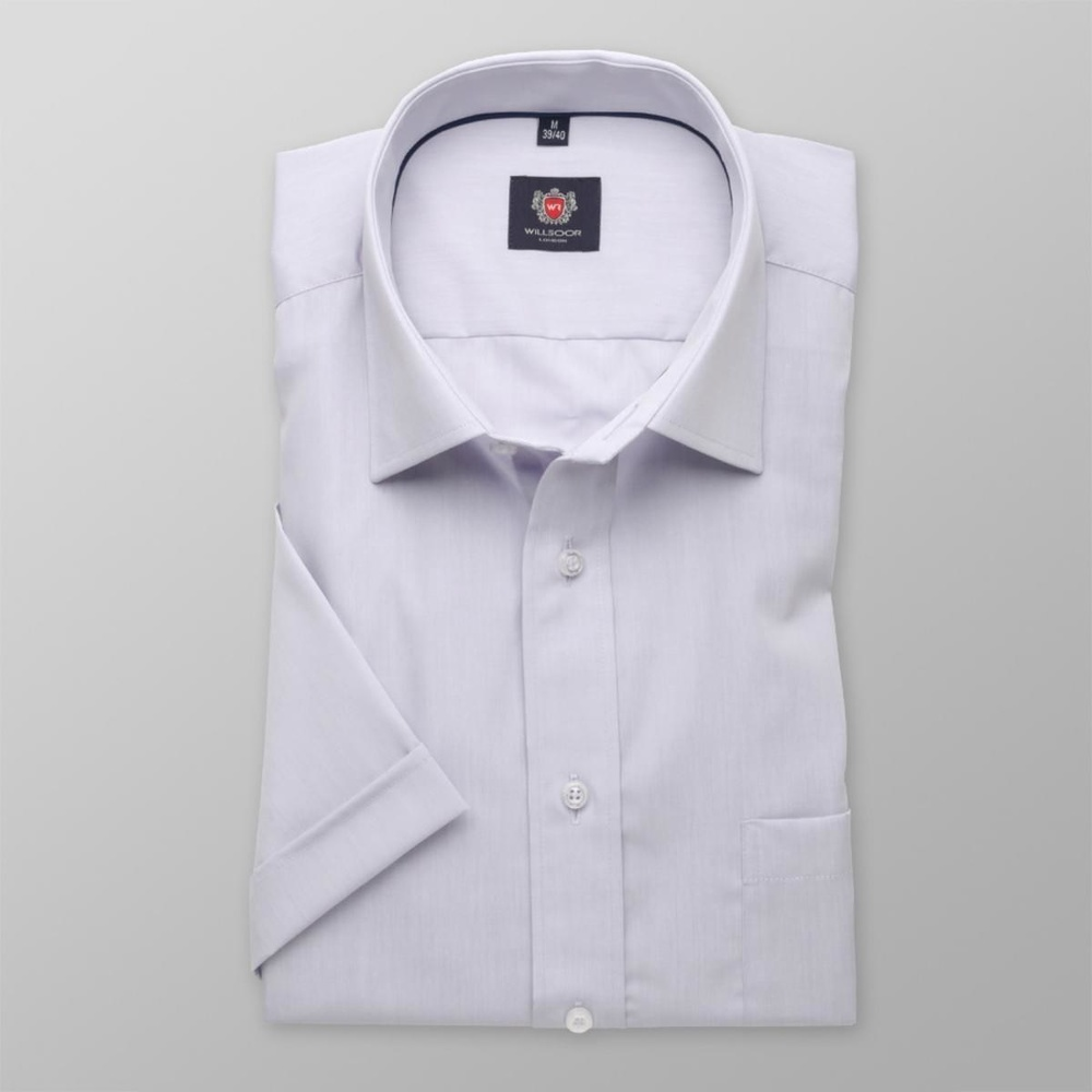 Men slim fit shirt with short sleeve London (height 176-182) 7842 in violet color with adjusting 2W