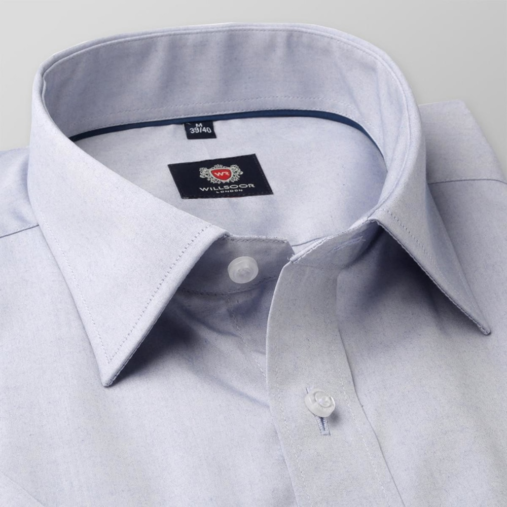 Men slim fit shirt with short sleeve London (height 176-182) 7855 in gray color with adjusting 2W Pl