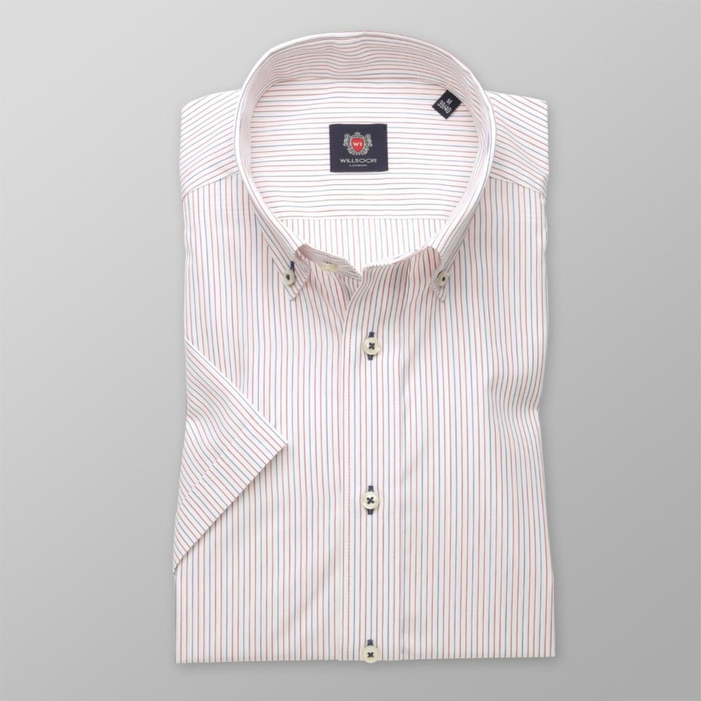 Men slim fit shirt with short sleeve London (height 176-182) 7861 in white color with strips