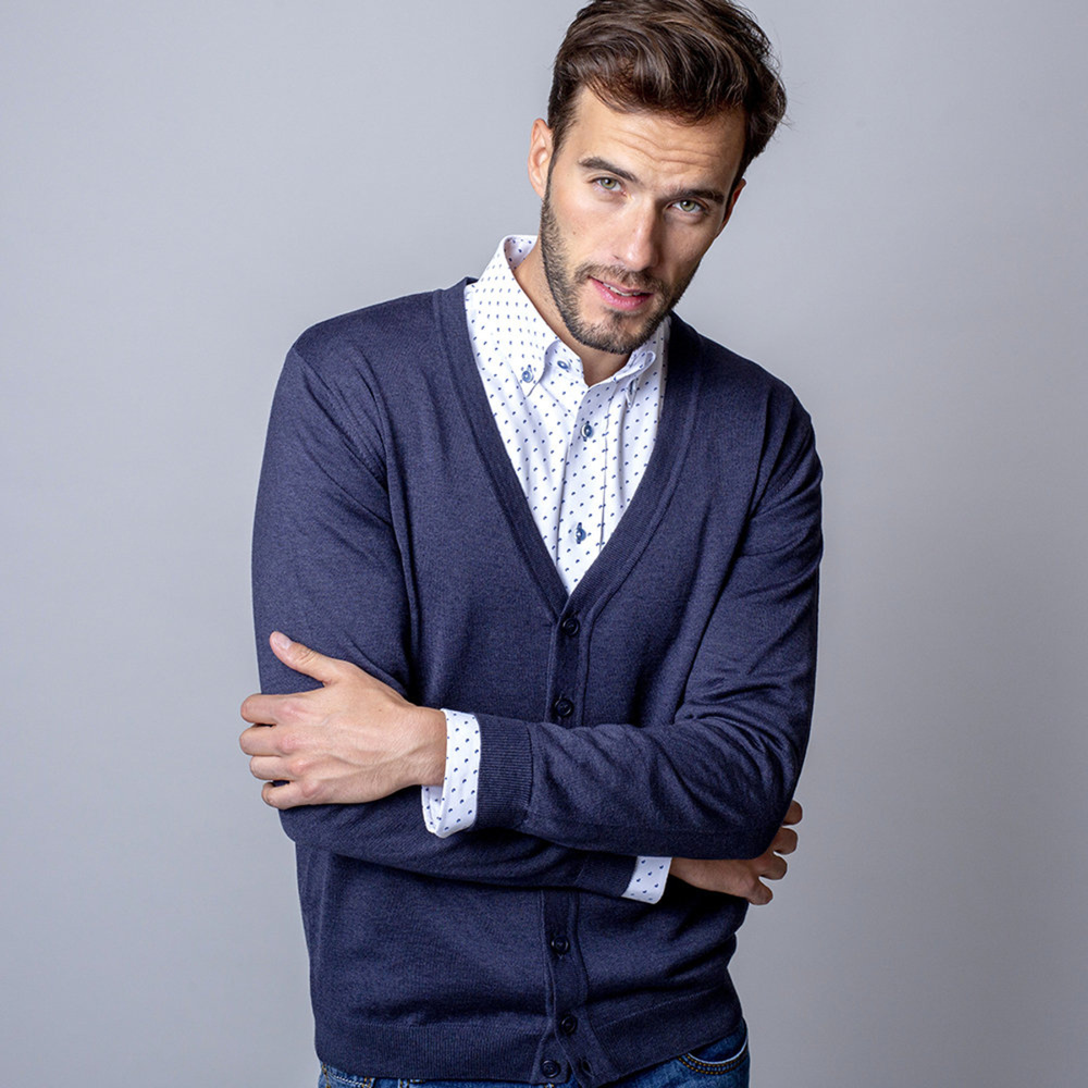 Men sweater type cardigan Willsoor (size to 5XL) 7879 in dark blue color