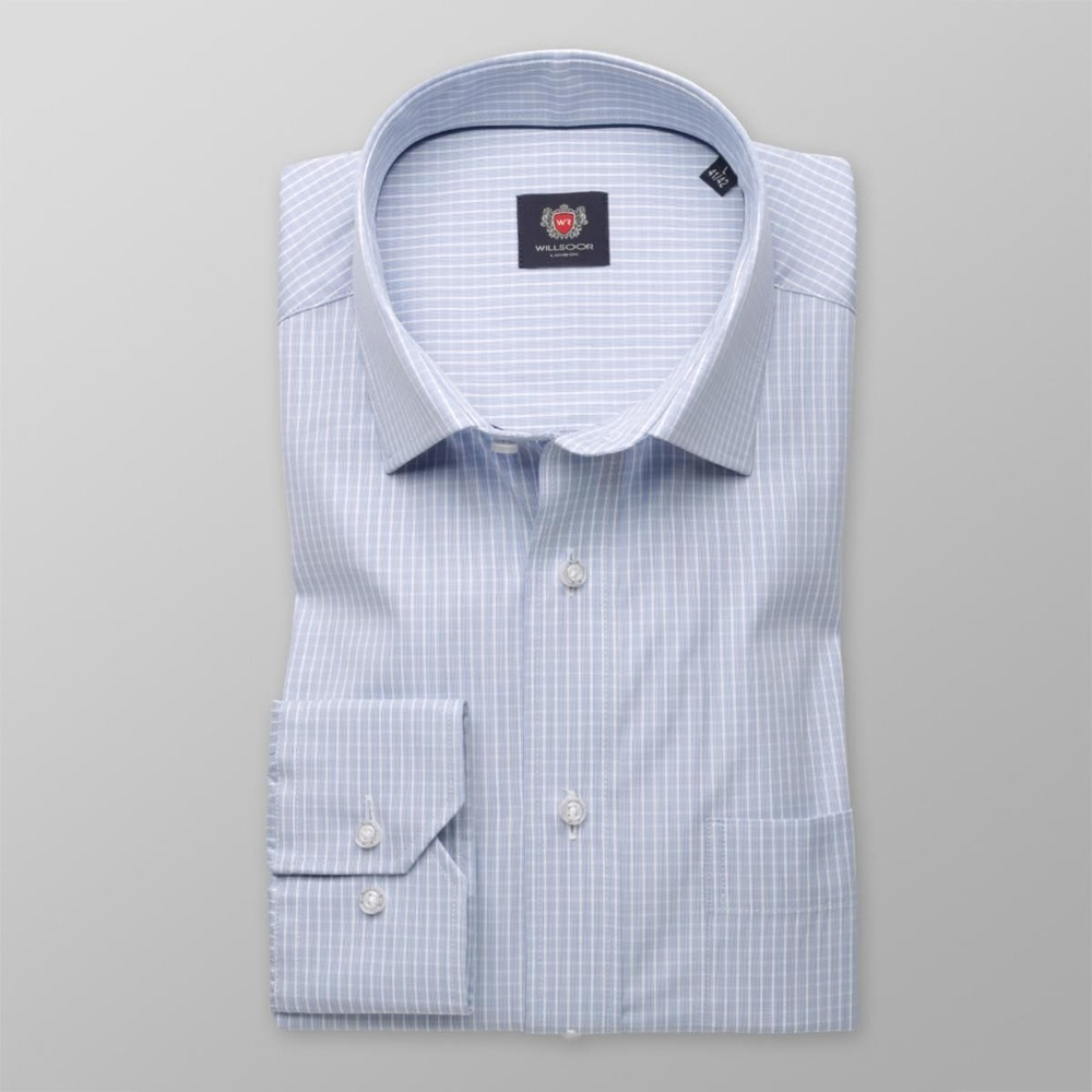 Men classic shirt London (height 164-170) 7905 in blue color with fine checked