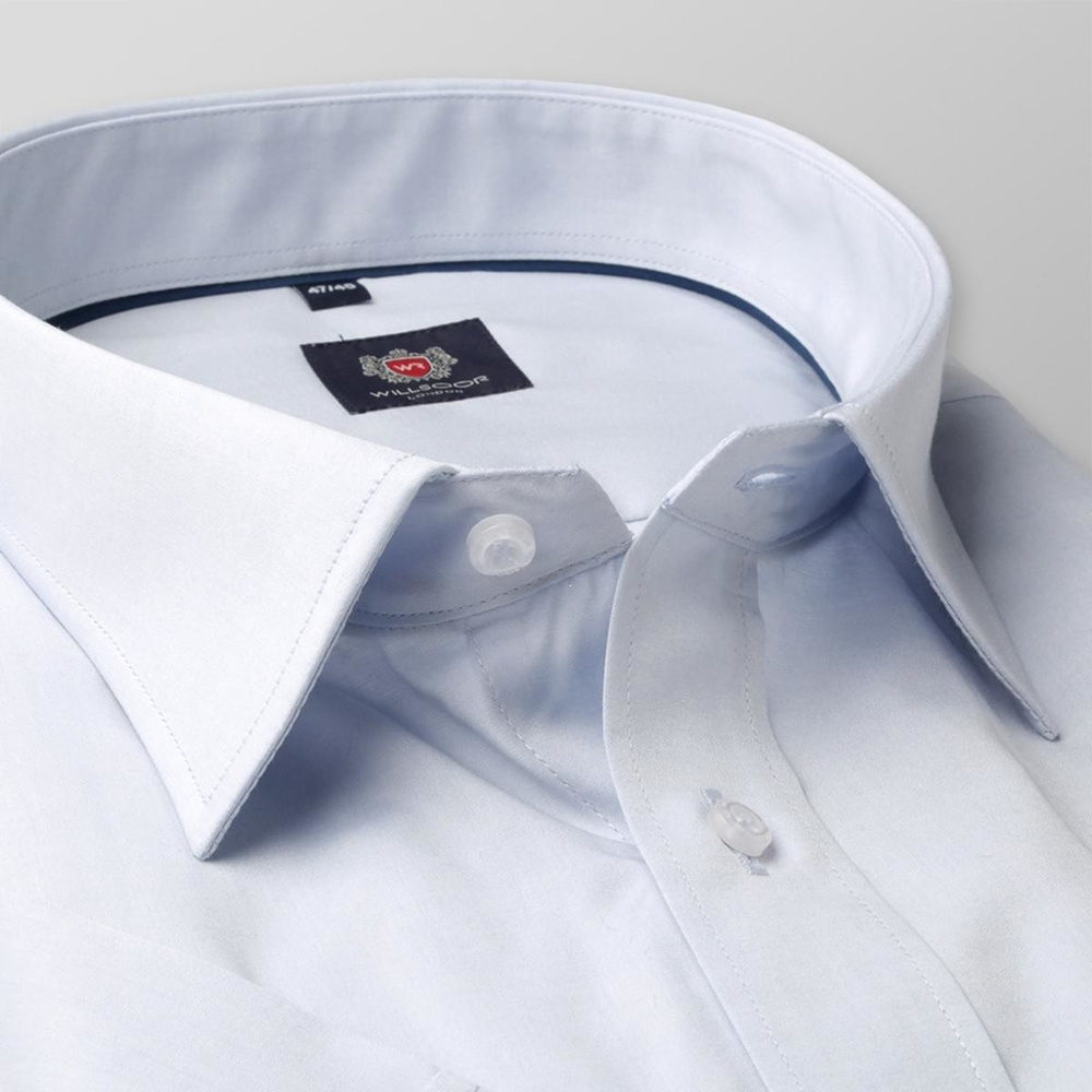 Men classic shirt with short sleeve London (height 176-182) 7913 in blue color with adjusting 2W Plus