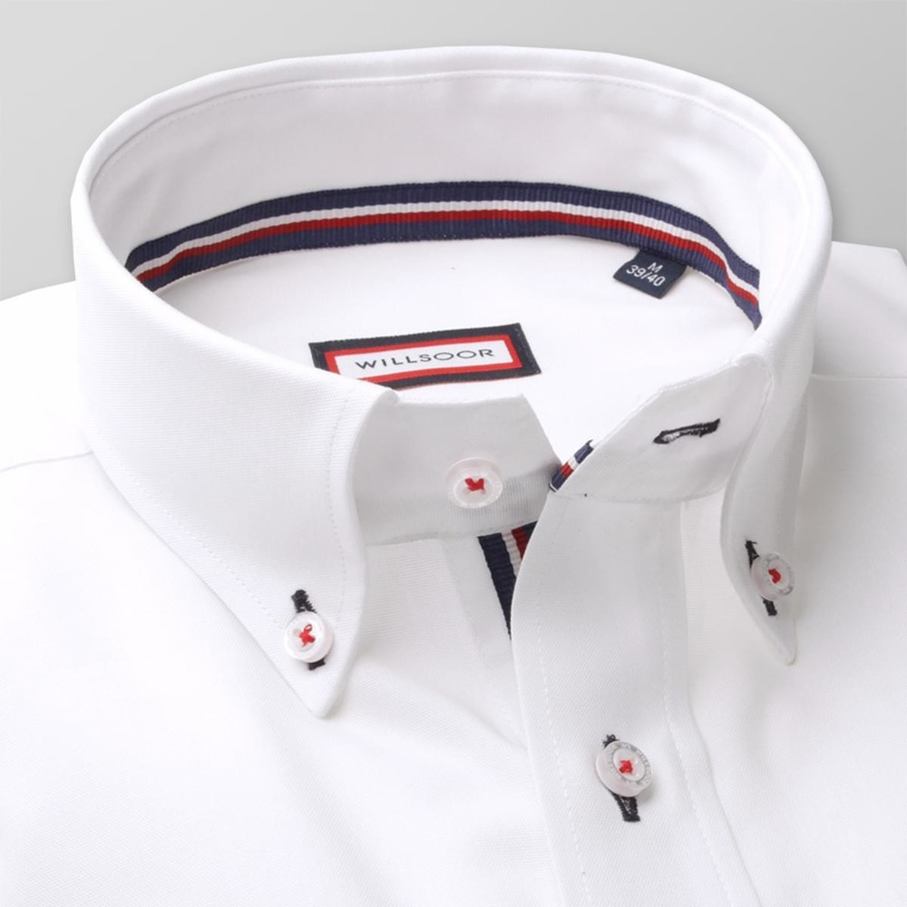 Men classic shirt (height 176-182) 7917 in white color with adjusting easy care