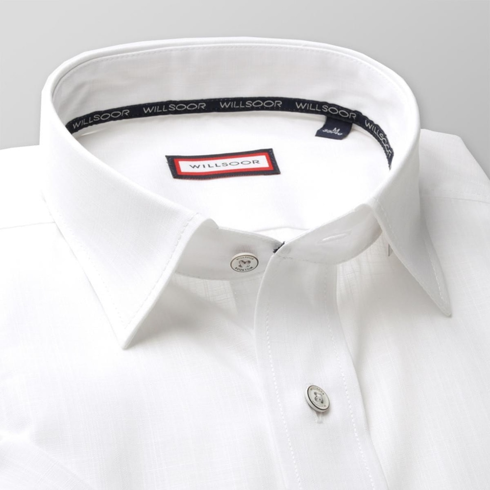 Men slim fit shirt with short sleeve (height 176-182) 8015 in white color