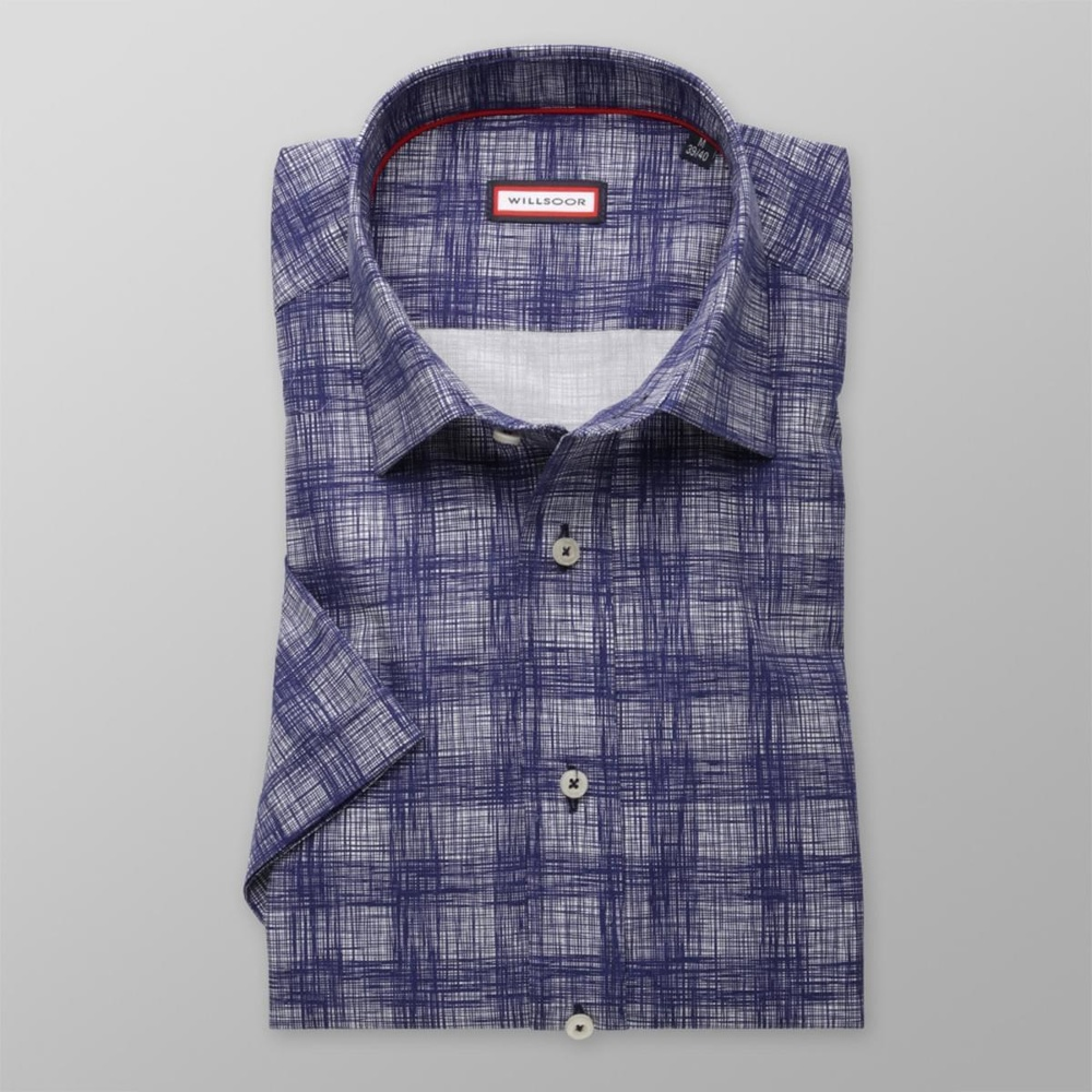Men slim fit shirt with short sleeve (height 176-182) 8017 in blue color