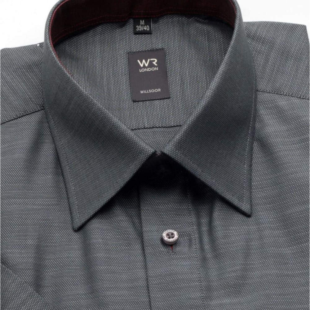 Men slim fit shirt with short sleeve (height 176-182) 801 in graphite color