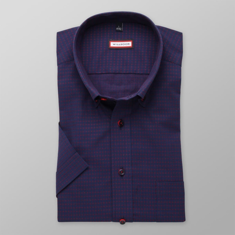 Men slim fit shirt with short sleeve (height 176-182) 8065 in blue color with adjusting easy care