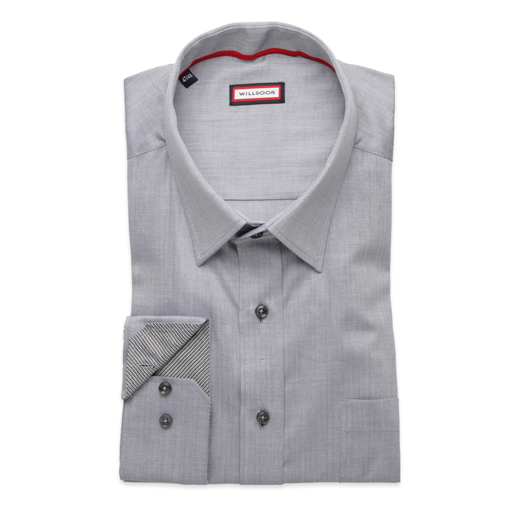 Men classic shirt (height 176-182) 8246 in gray color with
