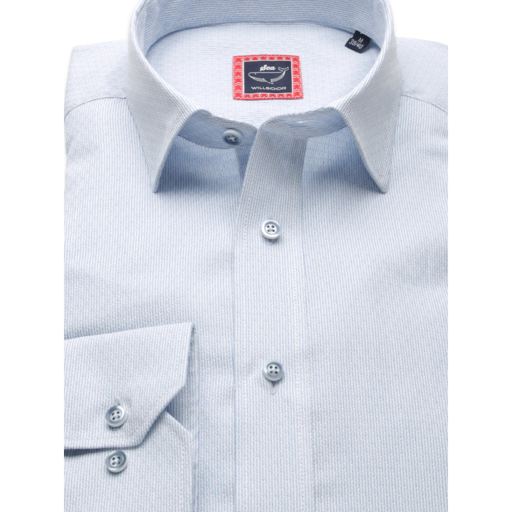 Men slim fit shirt London (height 176-182) 8251 in blue color
