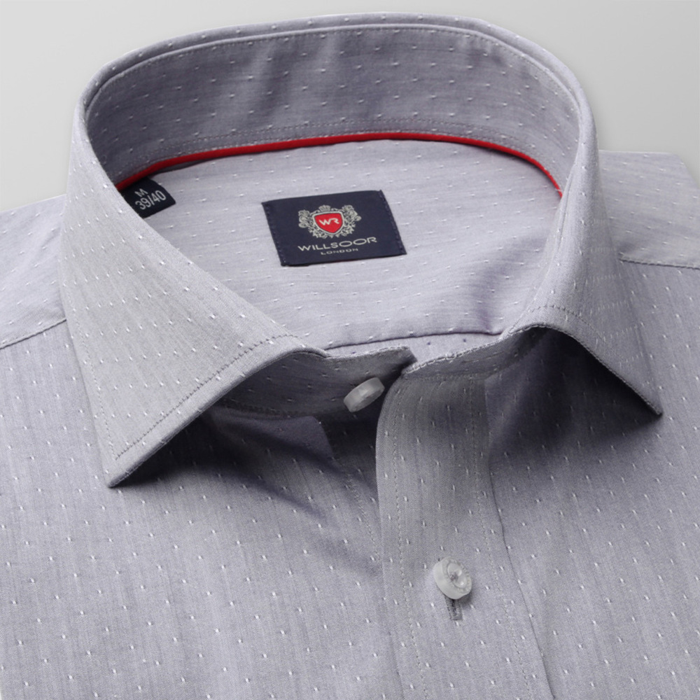 Men slim fit shirt London (height 176-182) 8271 in gray color with adjusting 2ply  2-ply