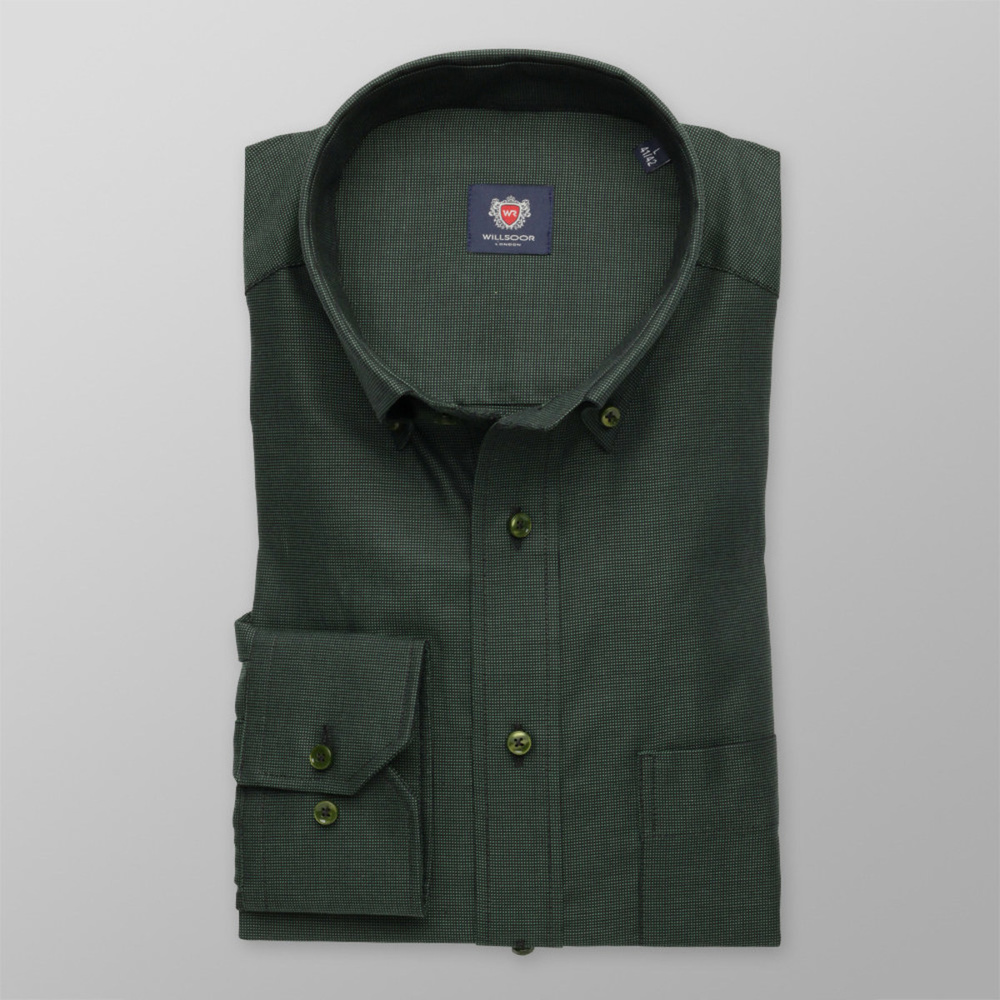 Men classic shirt London (height 176-182) 8281 in green color