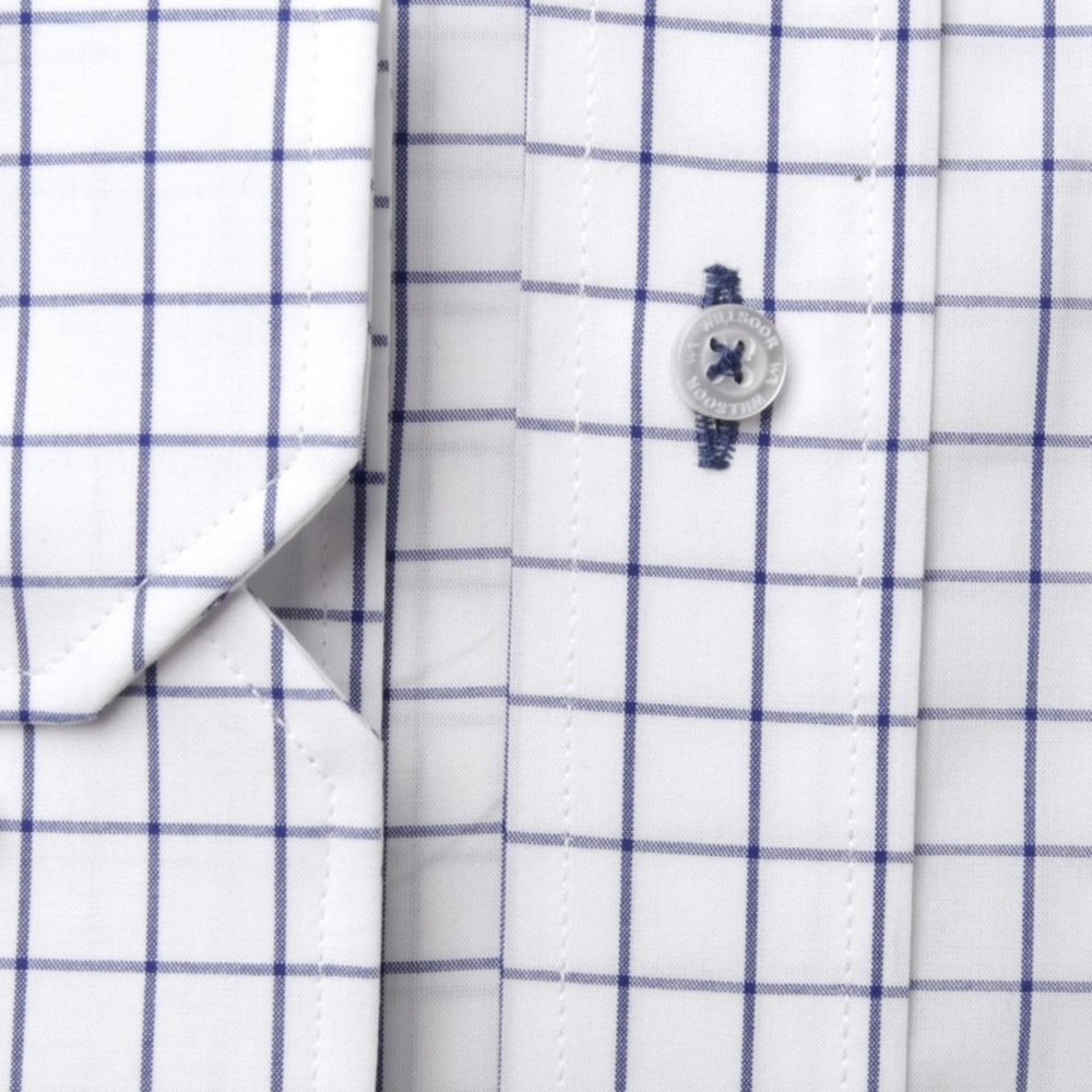 Men classic shirt London (height 176-182 I 188-194) 8299 in white color with checked
