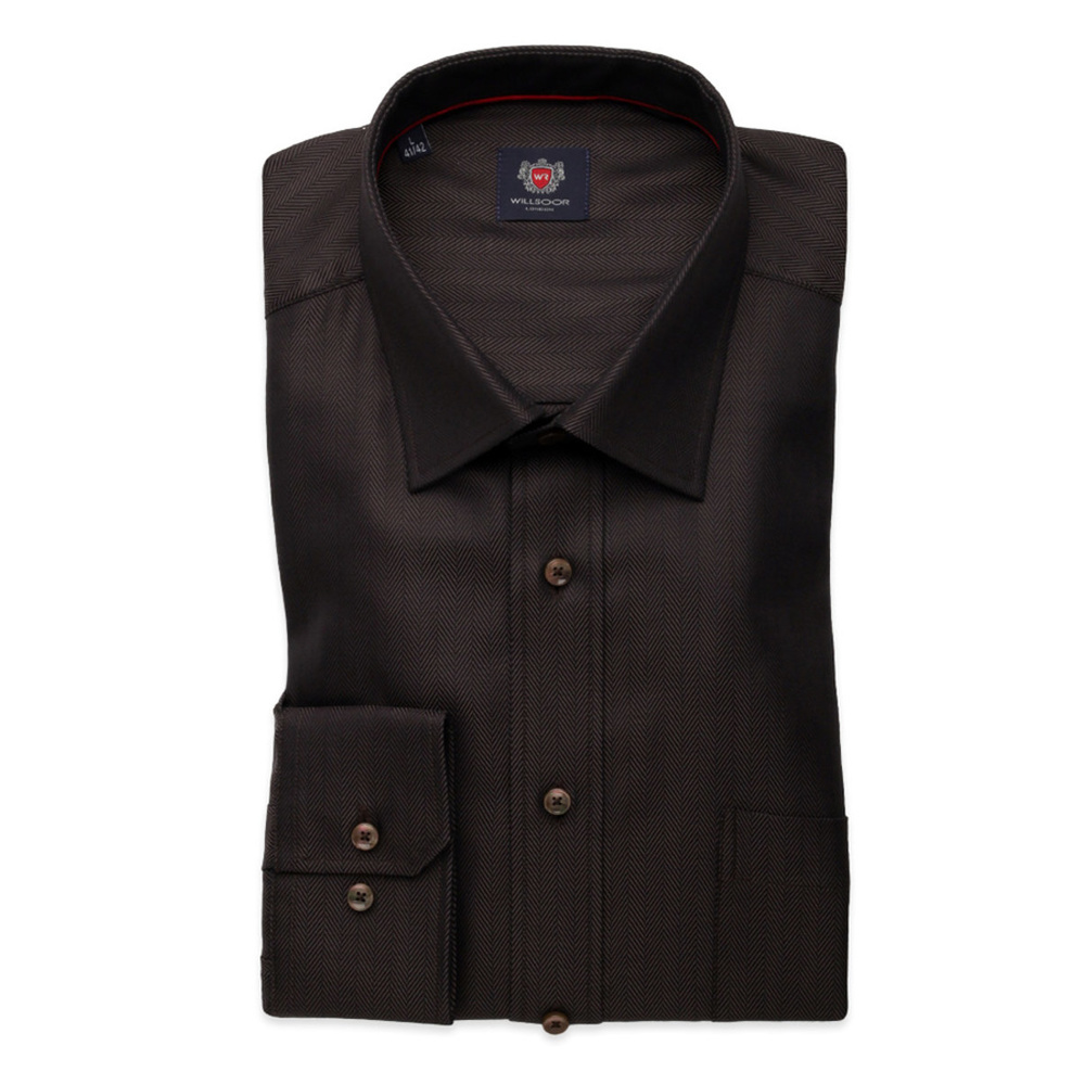 Men classic shirt London (height 176-182) 8316 in brown color