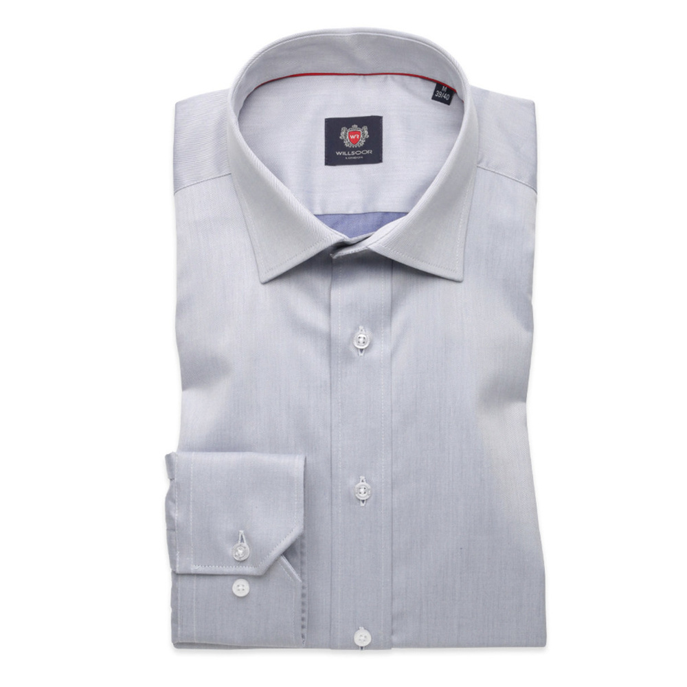 Men slim fit shirt London (height 176-182) 8329 in gray color with adjusting easy care
