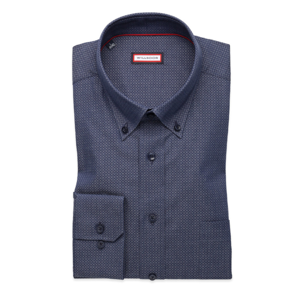 Men classic shirt (height 176-182) 8335 in gray color with adjusting easy care