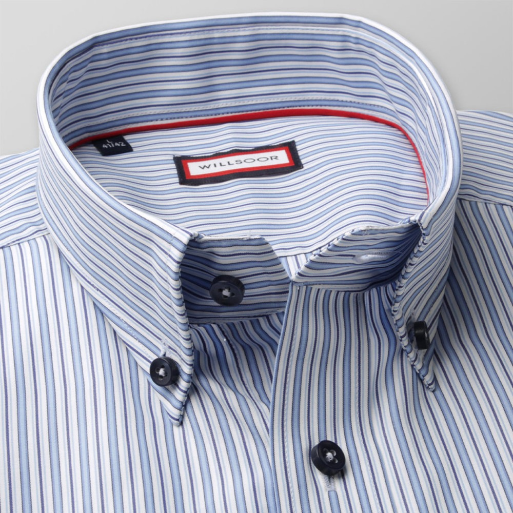 Men slim fit shirt (height 176-182) 8348 in white color with coloured strips