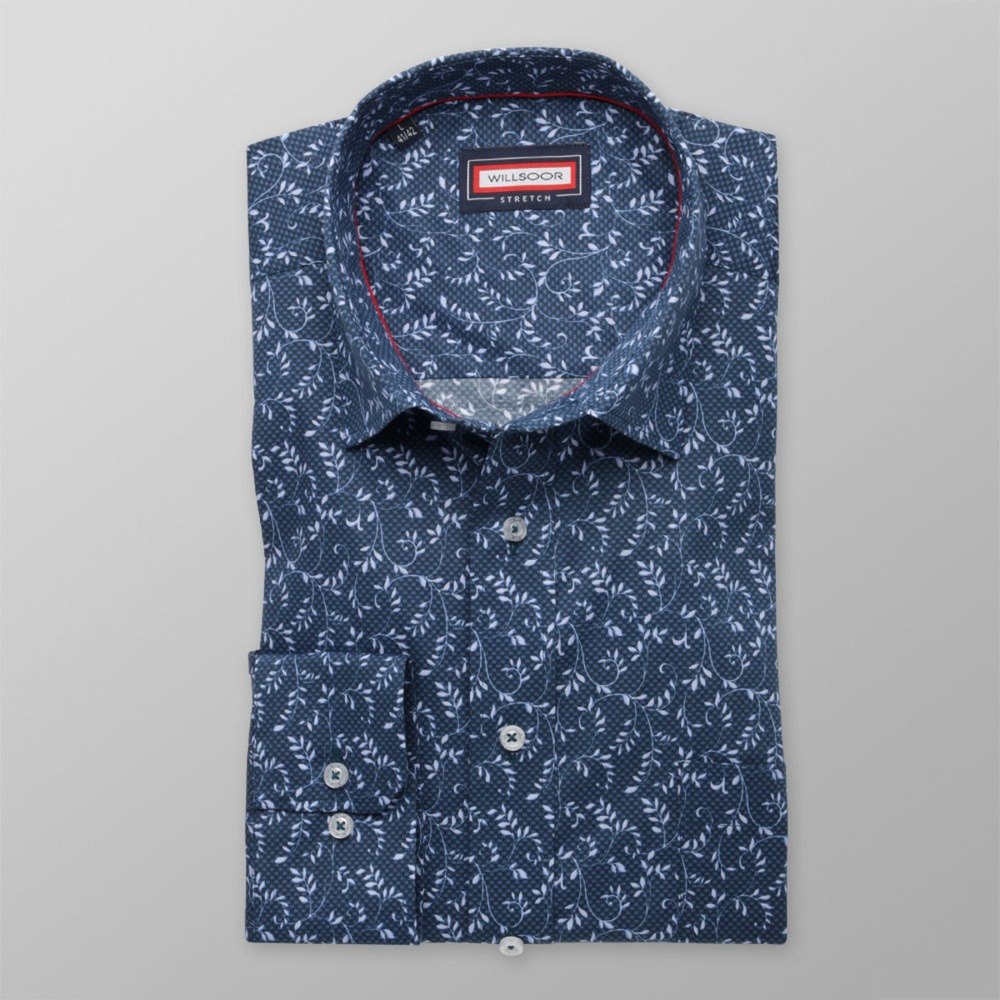 Men classic shirt (height 176-182) 8355 in dark blue color