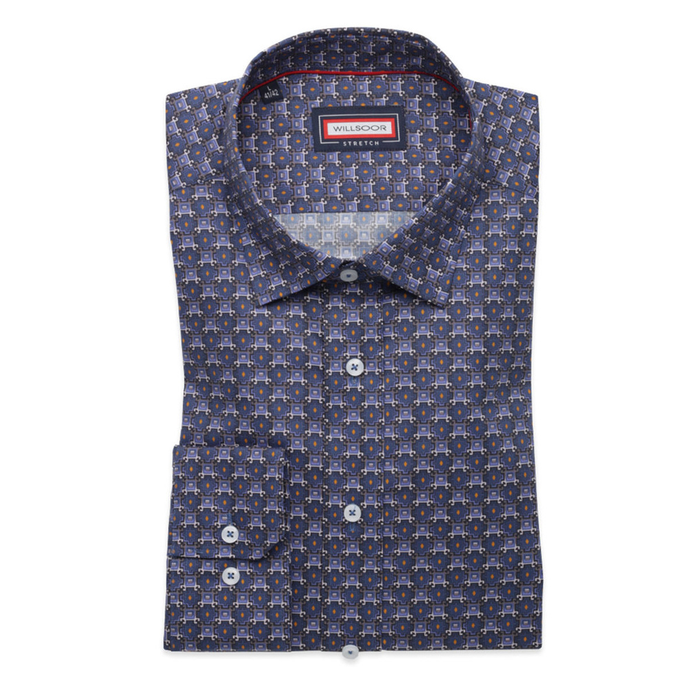 Men slim fit shirt (height 176-182) 8356 in blue color with added elastane