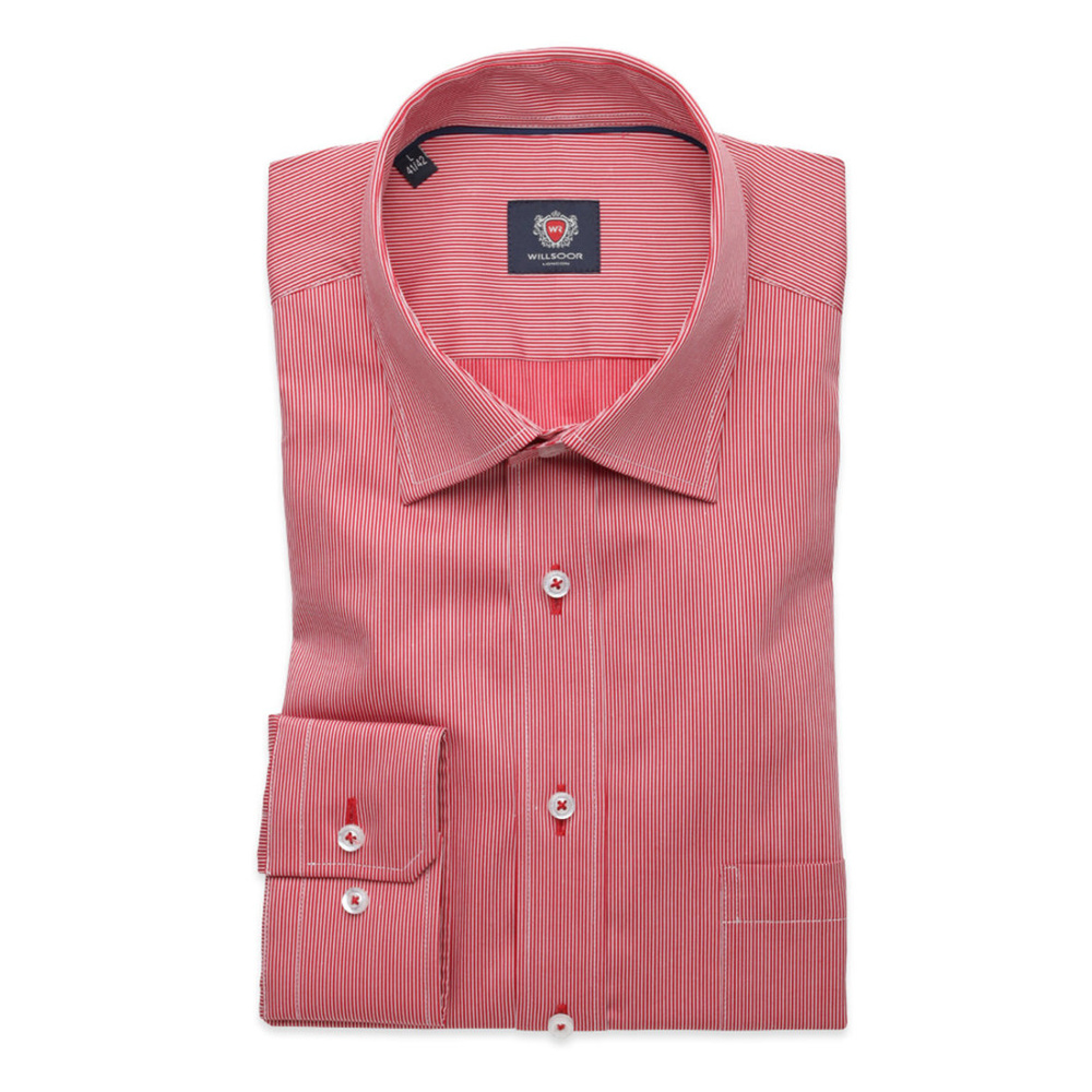 Men's red slim fit shirt London (height 176-182) 8368 in red color with adjusting 2W Plus