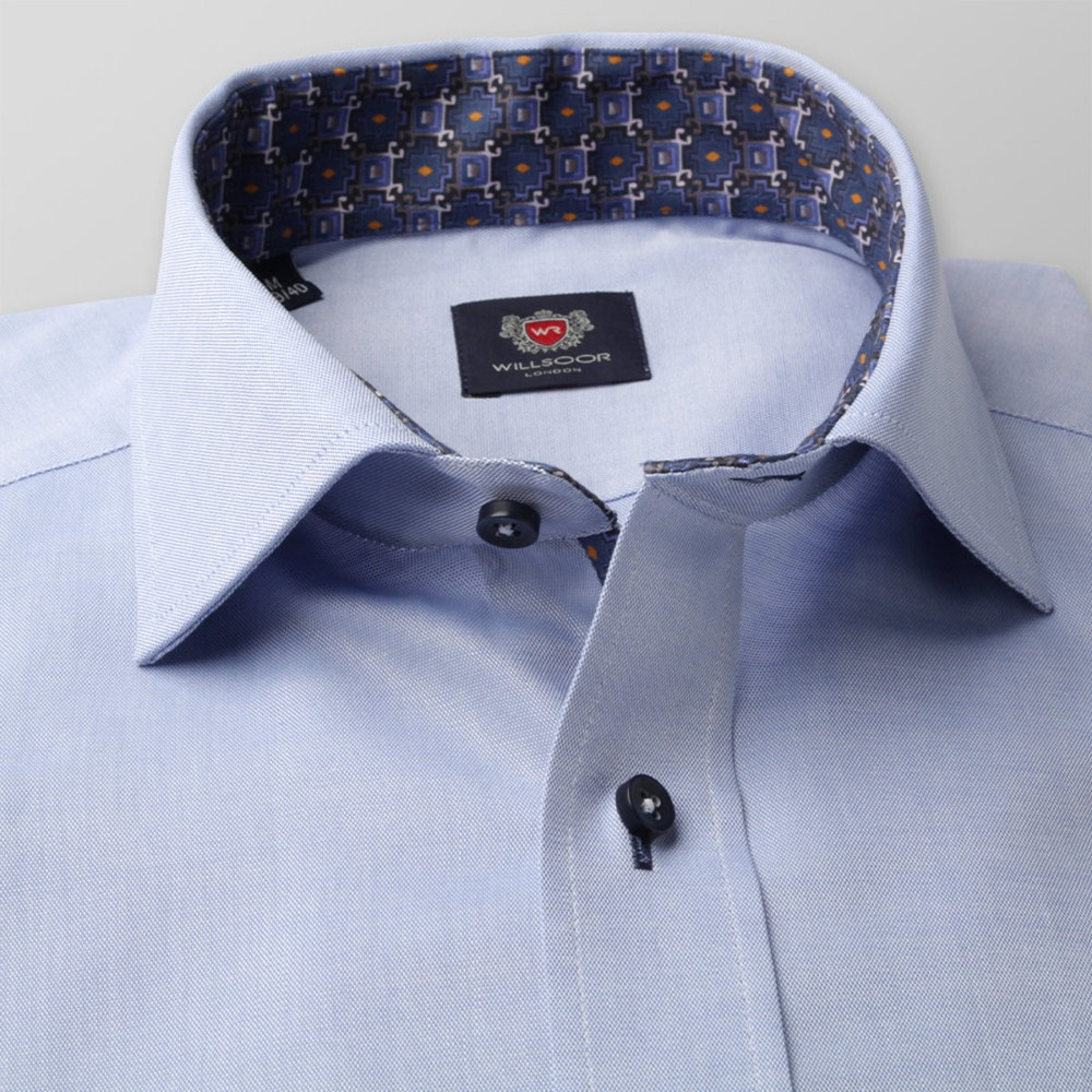 Men's light blue slim fit shirt London (height 176-182) 8374
