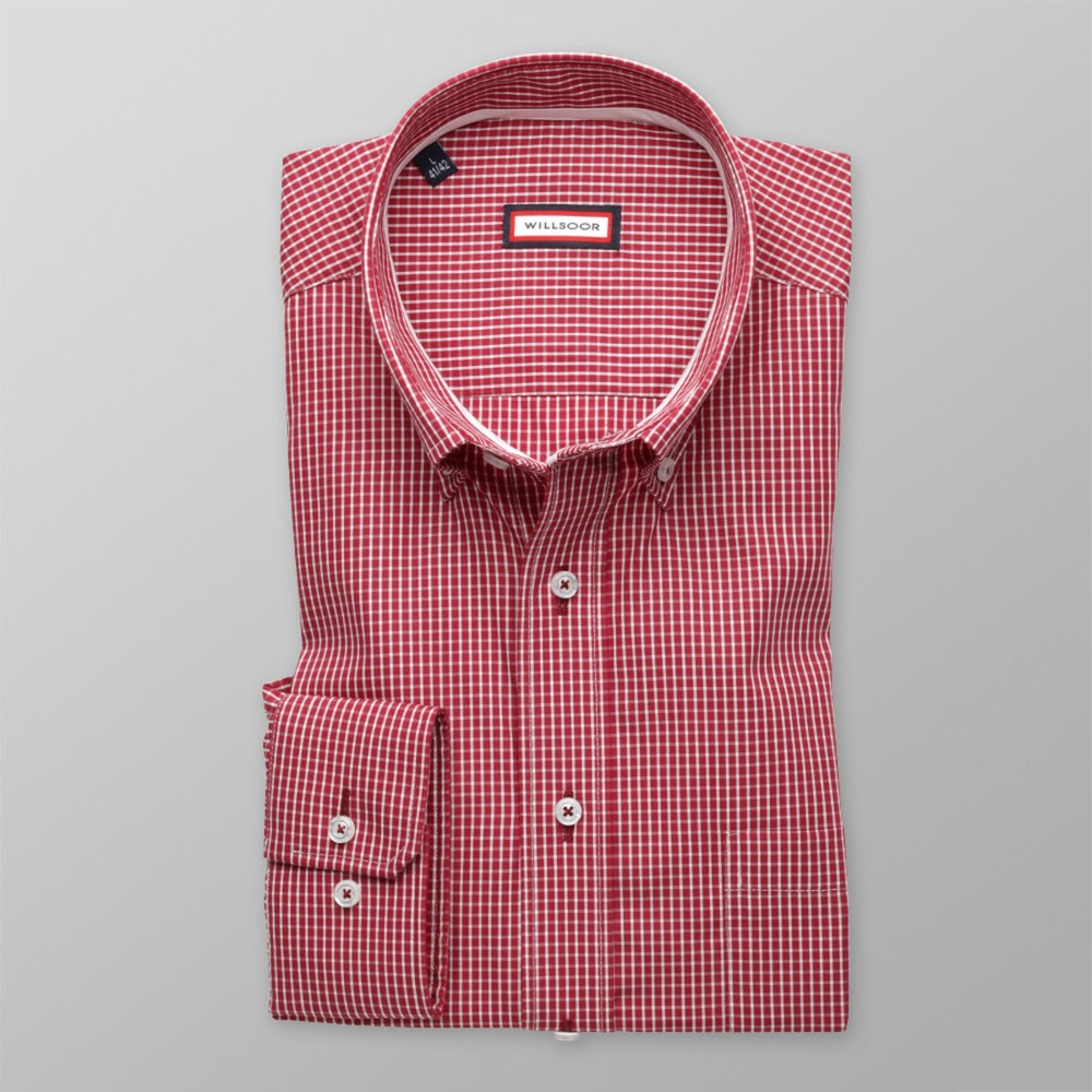 Men classic shirt (height 176-182) 8389 in red color with adjusting easy care
