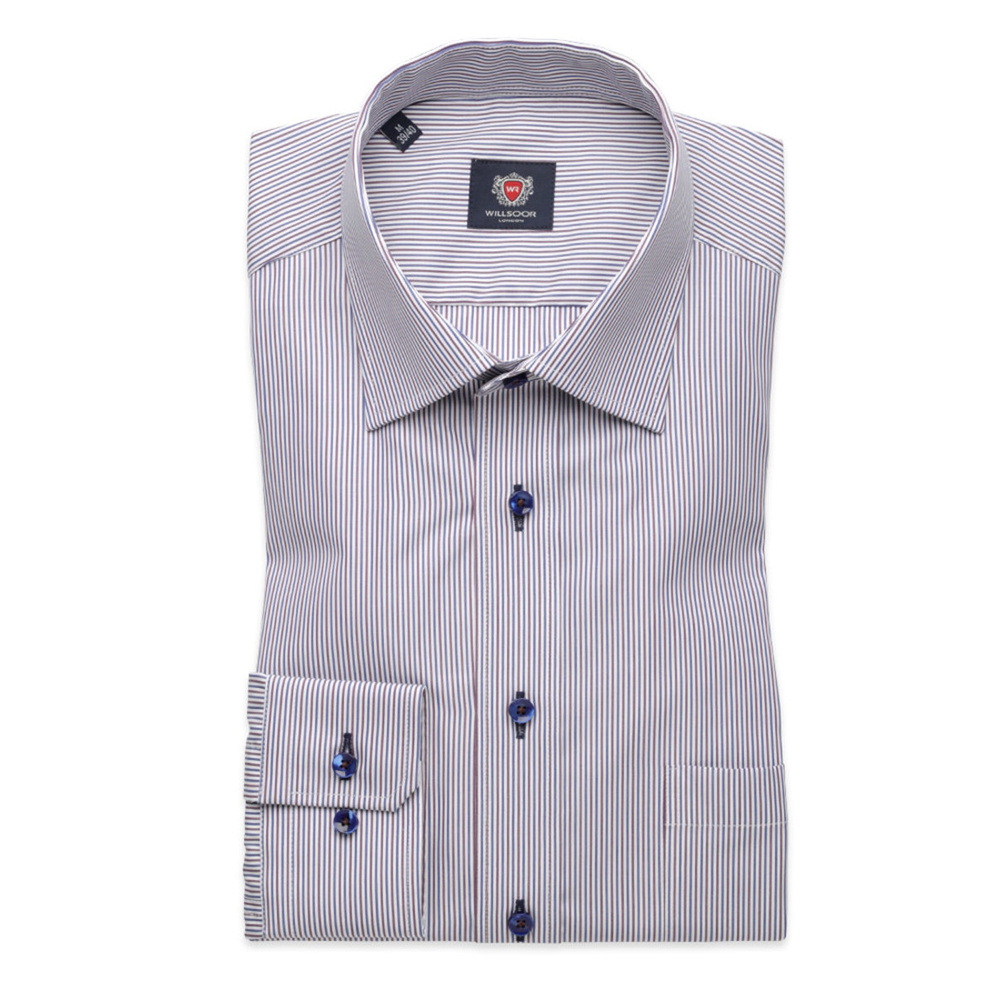 Men slim fit shirt London (height 176-182) 8396 in white color with adjusting easy care