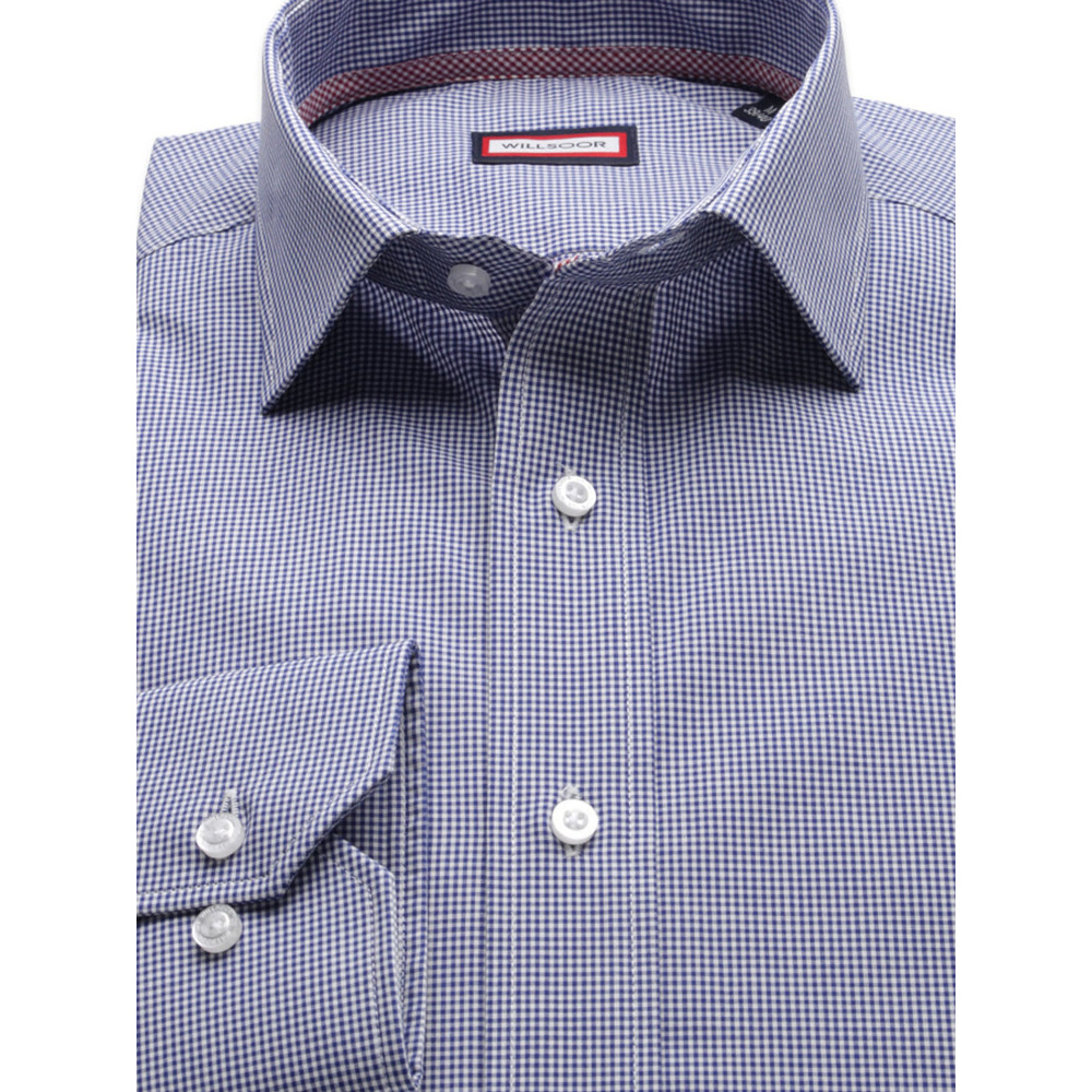 Men slim fit shirt (height 176-182) 8426 in blue color with adjusting easy care