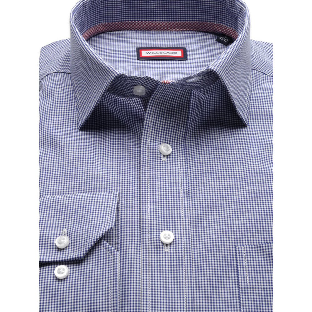 Men classic shirt (height 176-182) 8427 in blue color with adjusting easy care