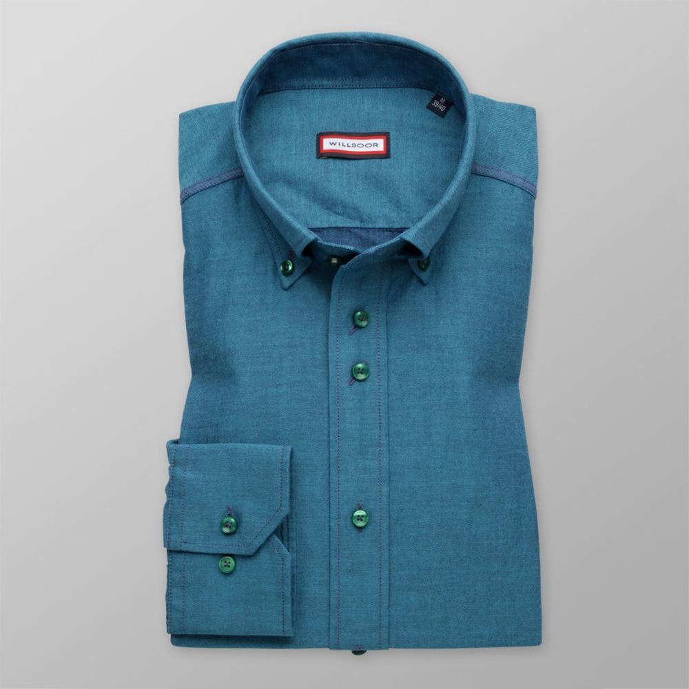 Men's turquoise slim fit shirt (height 176-182) 8491