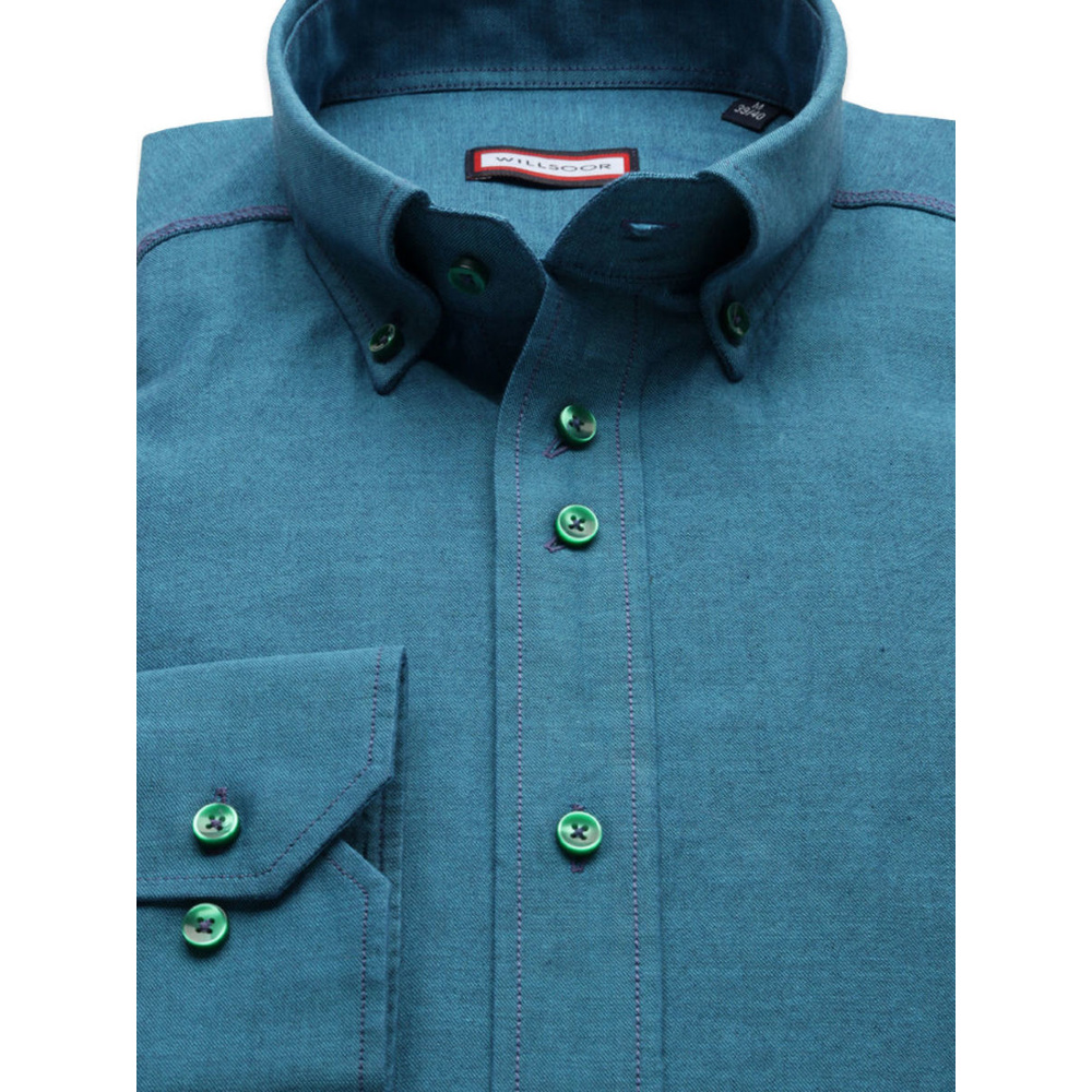 Men's turquoise regular fit shirt (height 176-182) 8492