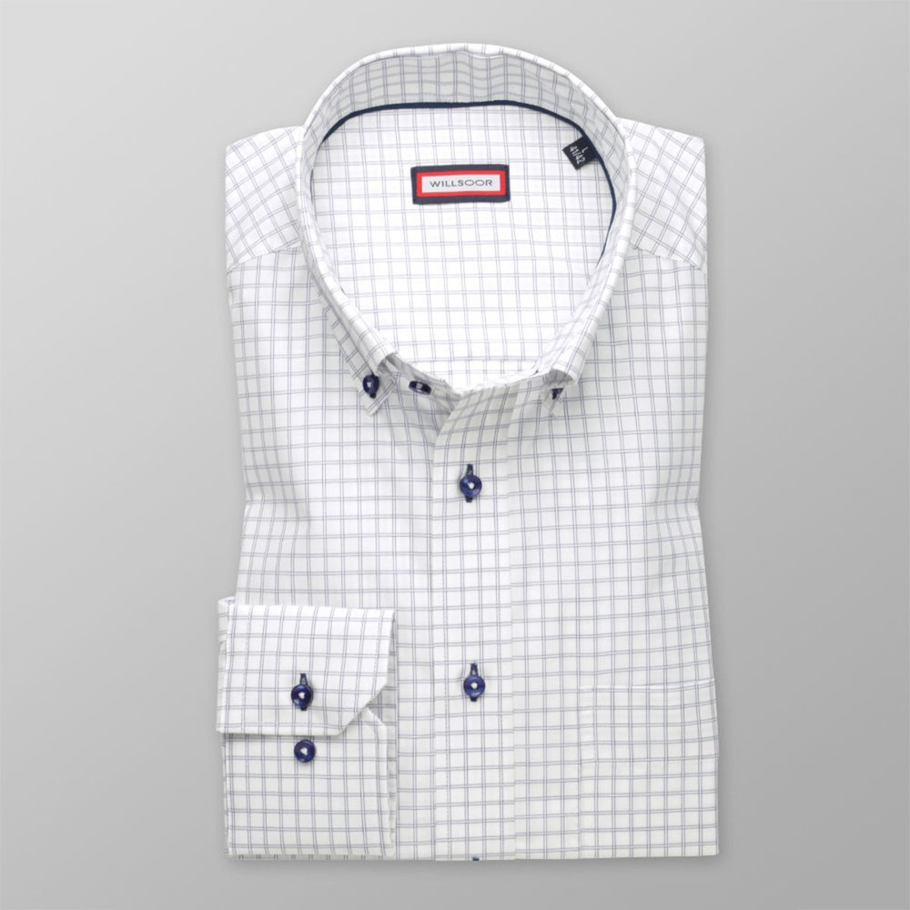 Men's white check classic shirt (height 176-182) 8500 2-ply