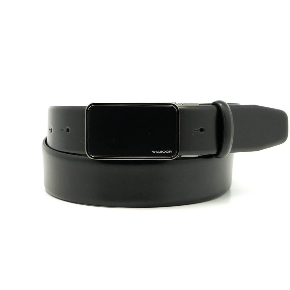 Men's leather belt in black color Willsoor 8527