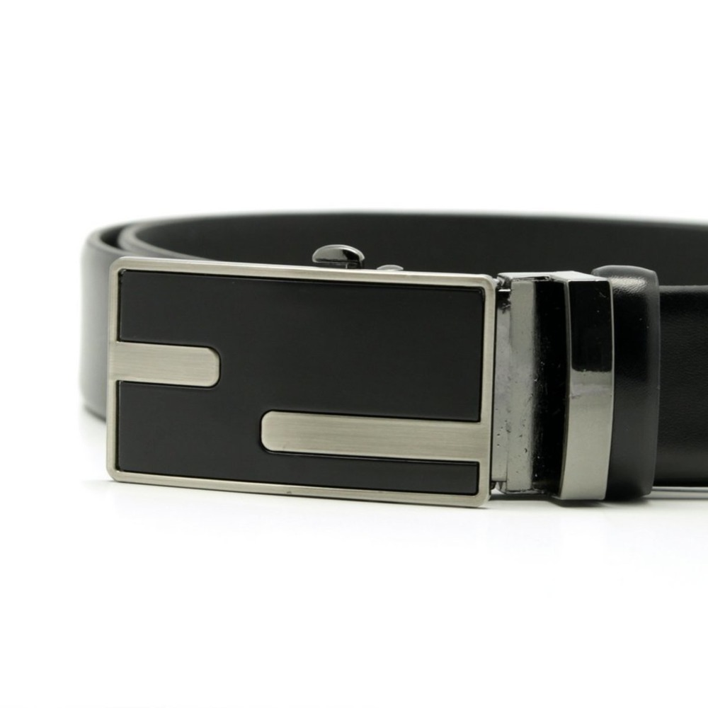 Men's black leather belt Willsoor 8535