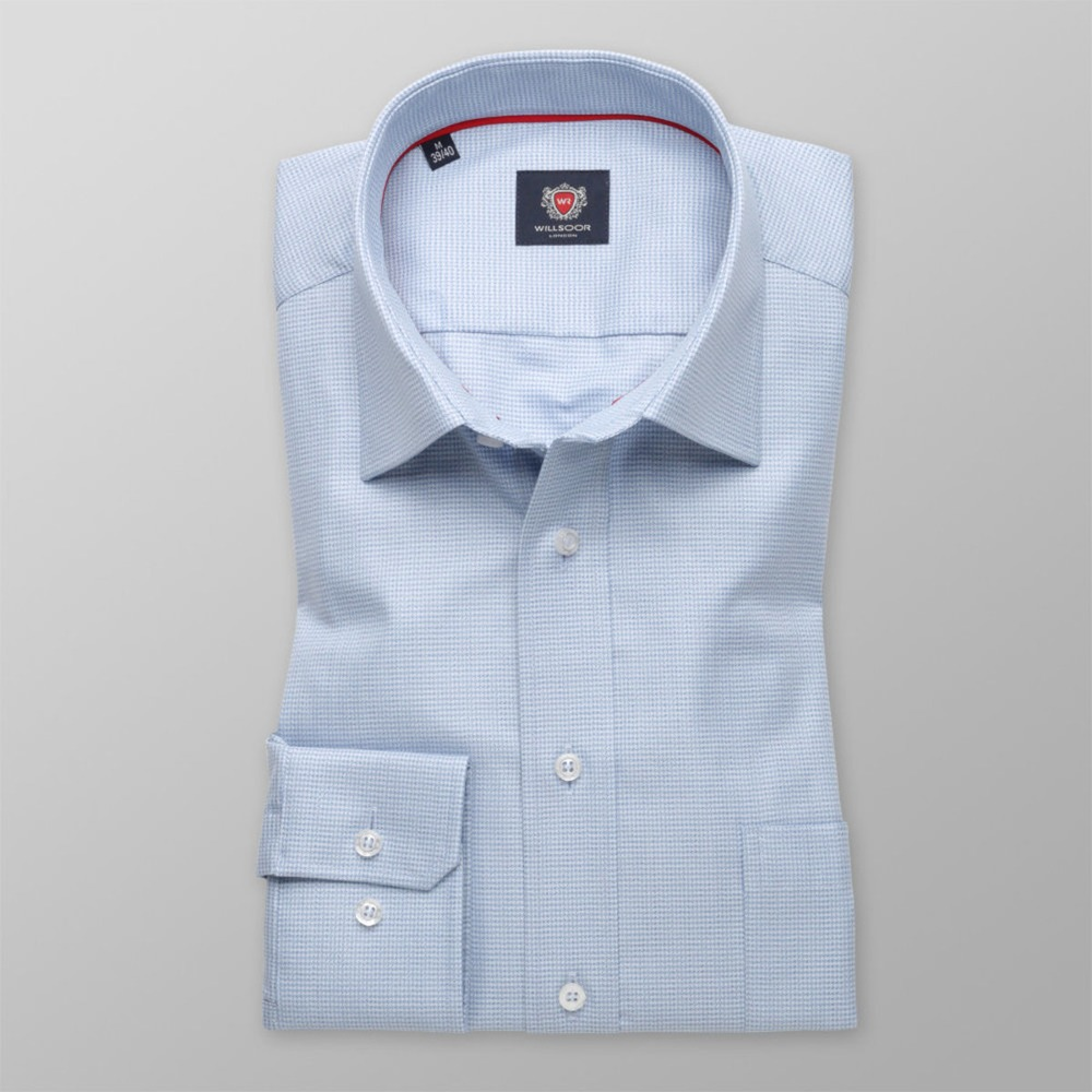 Men's slim fit shirt London (height 176-182) 8587 n blue colour with EASY CARE treatment