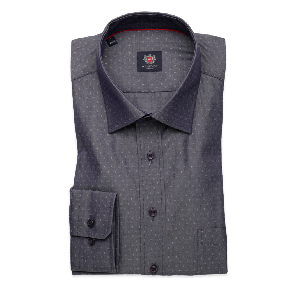 Men's slim fit shirt London (height 176-182 I 188-194) 8592 in graphite color