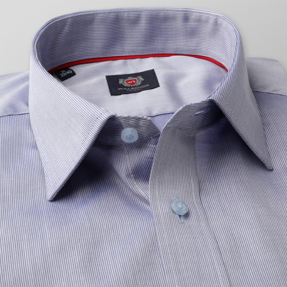 Men slim fit shirt London (height 176-182) 8598 in blue color with adjusting 2W Plus