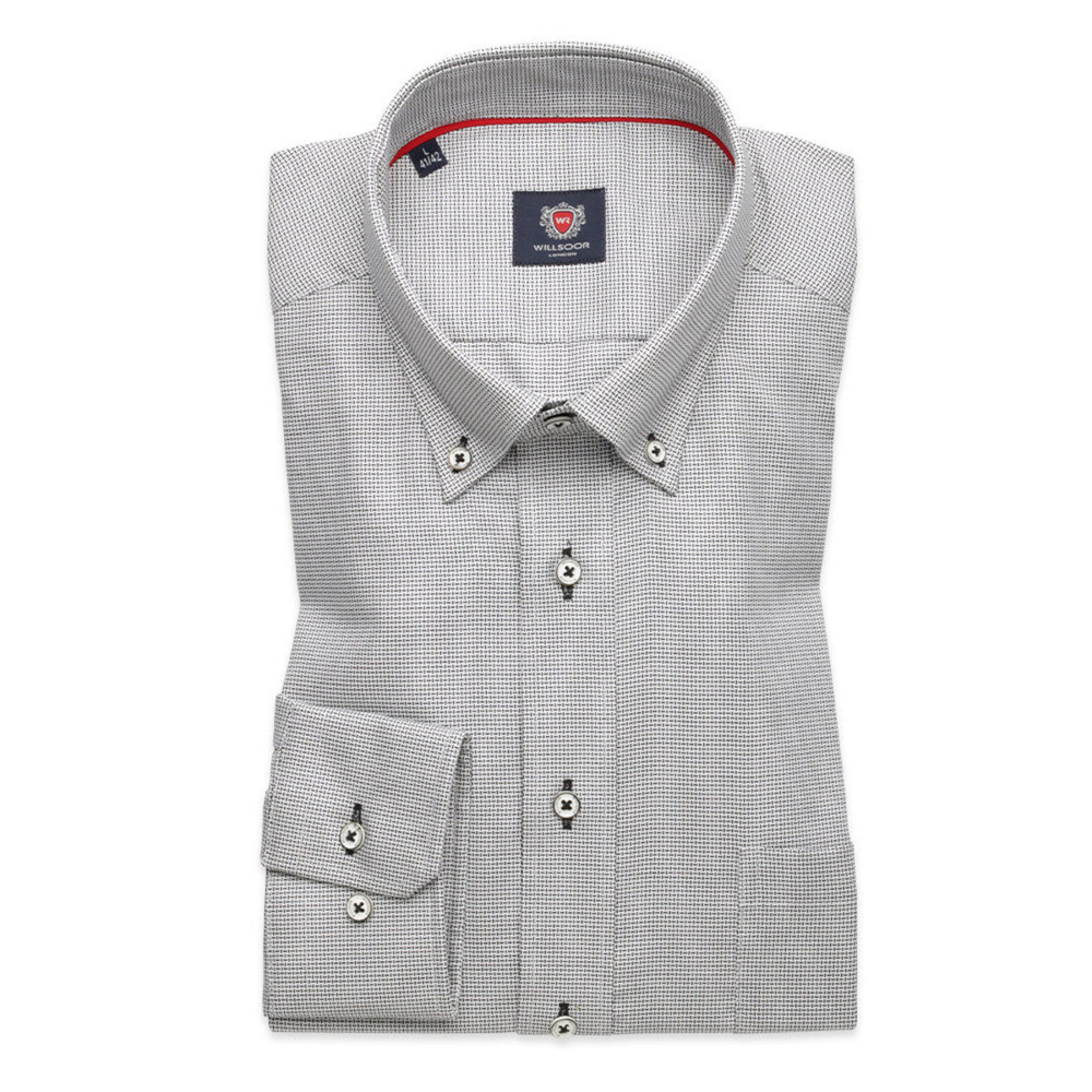 Men slim fit shirt London (height 176-182) 8604 in gray color with adjusting easy care