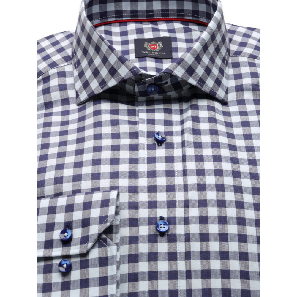 Men's blue checkered slim fit shirt London (height 176-182) 8617 2-ply