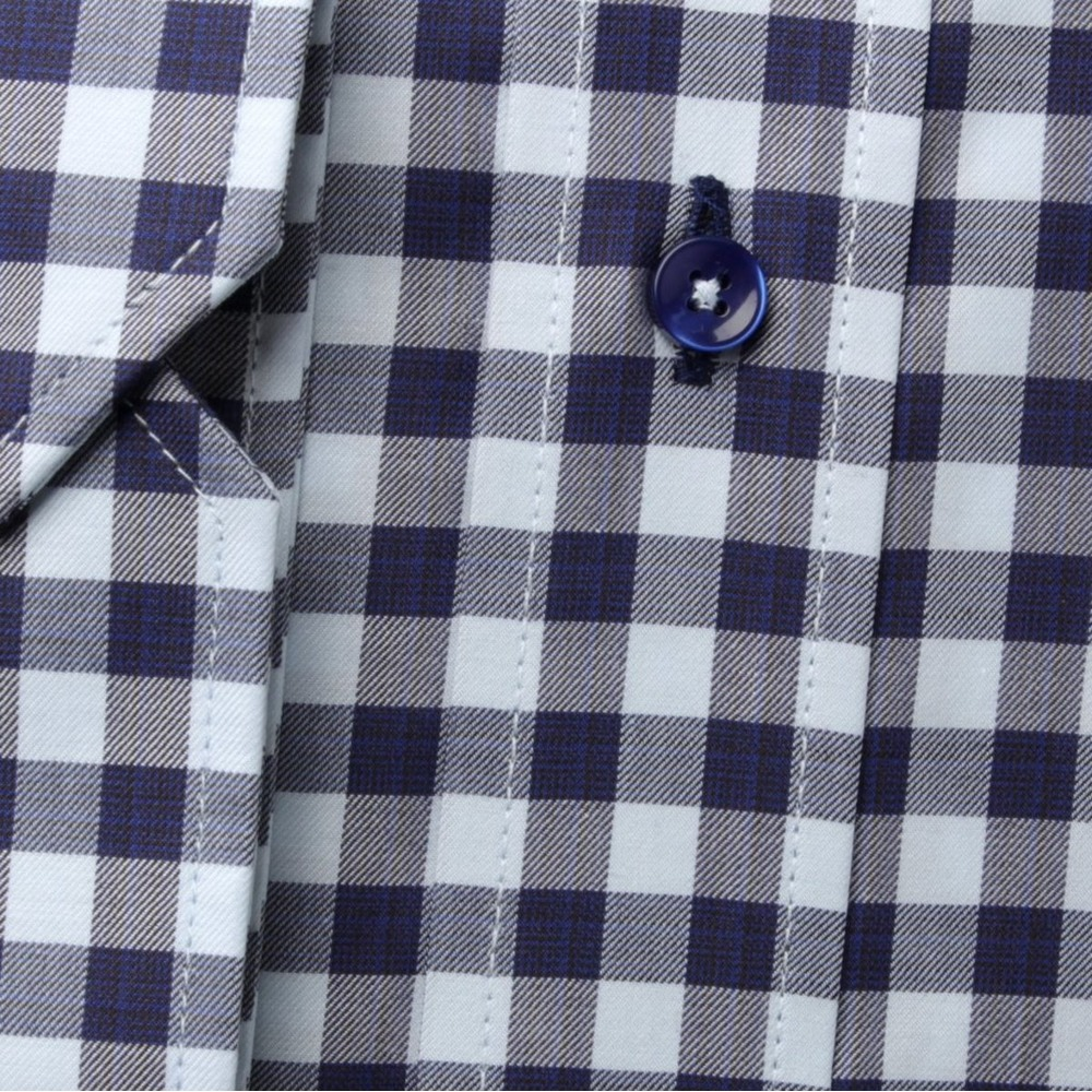 Men's blue checkered classic shirt London (height 176-182) 8618 2-ply