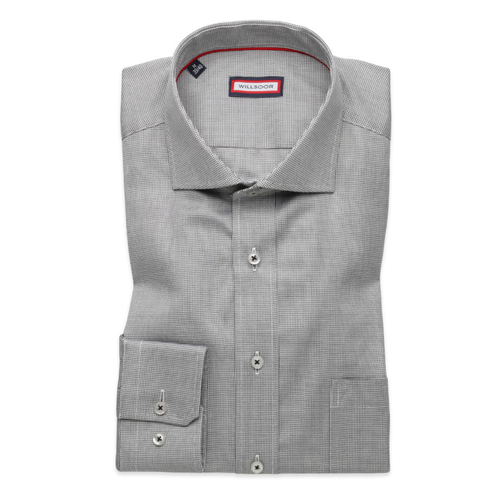 Men's grey slim fit shirt  with micro pattern (height 176-182) 8630