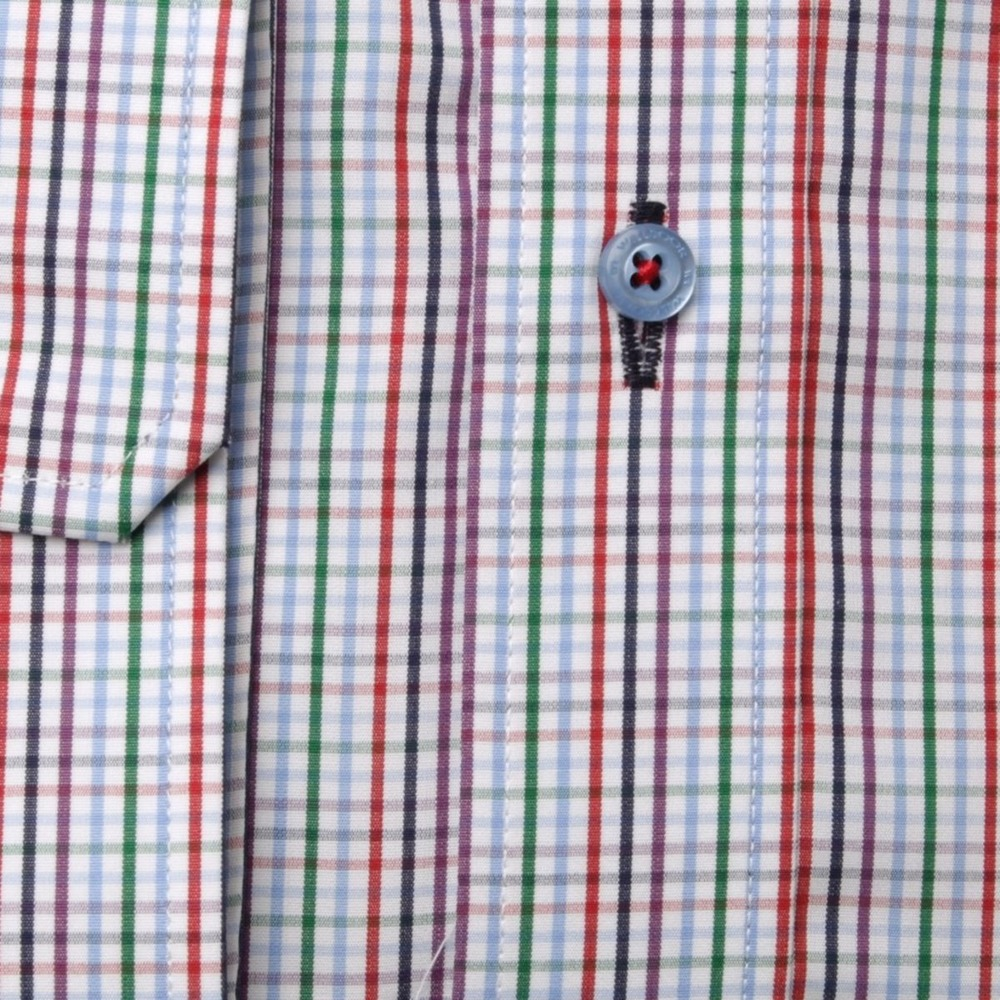 Men's checkered slim fit shirt London (height 176-182) 8637 Easy care, 2-ply