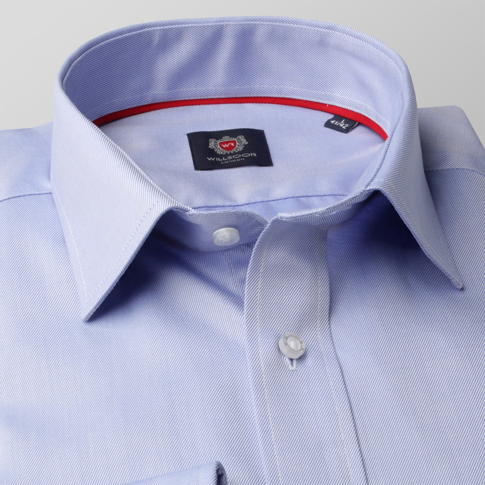 Men's light blue slim fit shirt London (height 176-182 I 188-194) 8684  Two-Ply