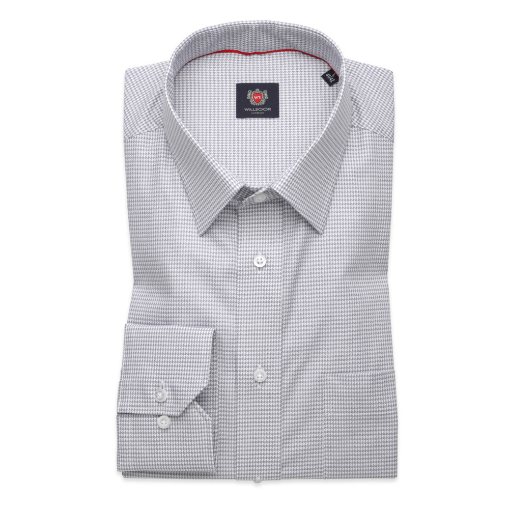 Men's Classic Cut Shirt LONDON (height 176-182) 8710 in gray color and PEPITO pattern