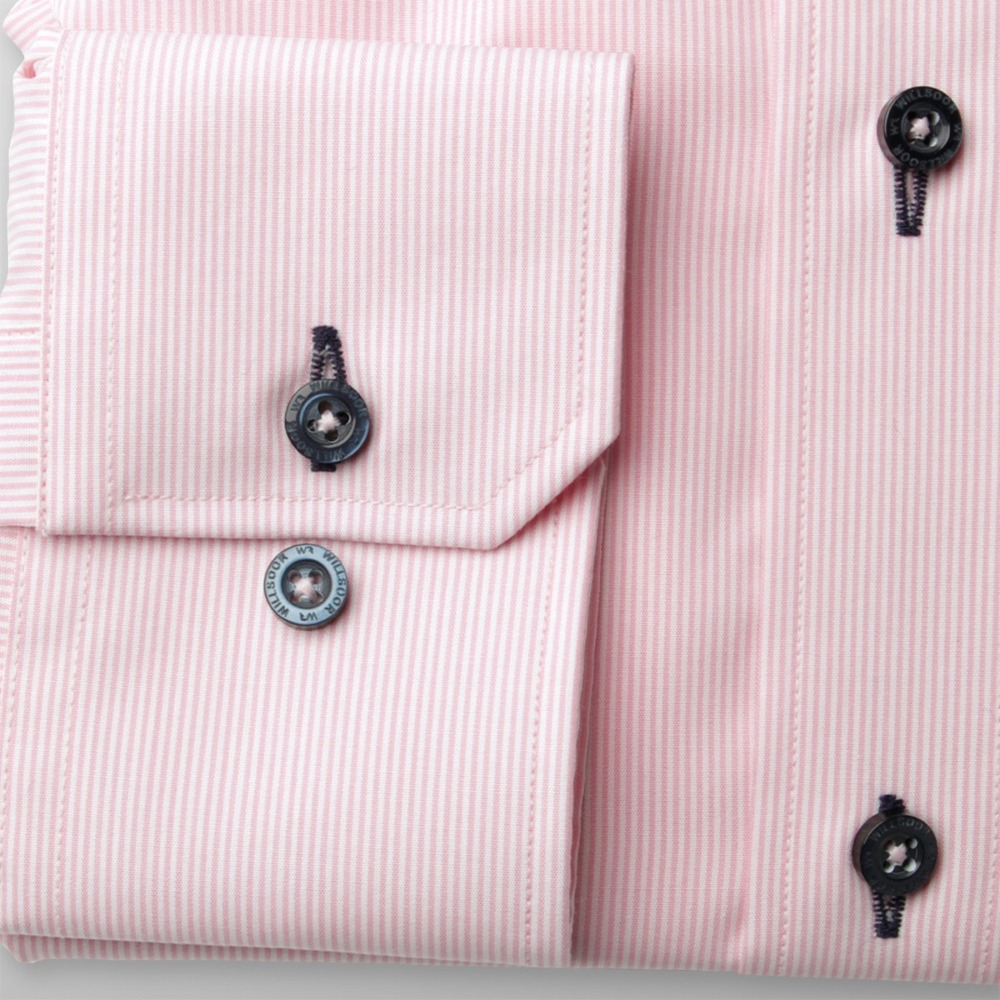 Men slim fit shirt London (height 176-182) 8745  in pink color with 2W Plus treatment
