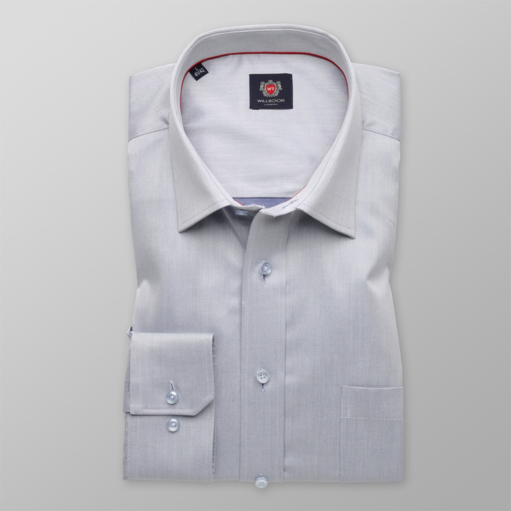 Men's Classic Cut Shirt London (height 176-182) 8756 in gray color and  Two-Ply Treatment
