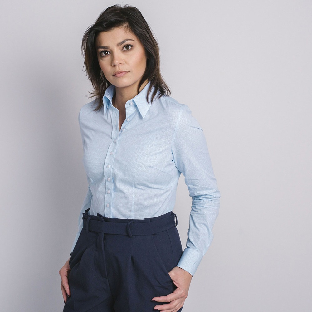 148ad4a2e4e Women s light blue shirt Willsoor 8914 with very fine white corolla pattern  - willsoor.eu