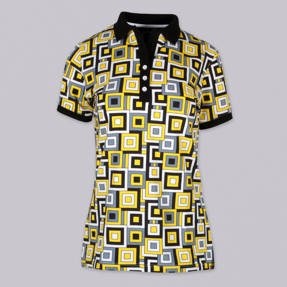 Women's Polo t-shirt 9462 with pattern squares