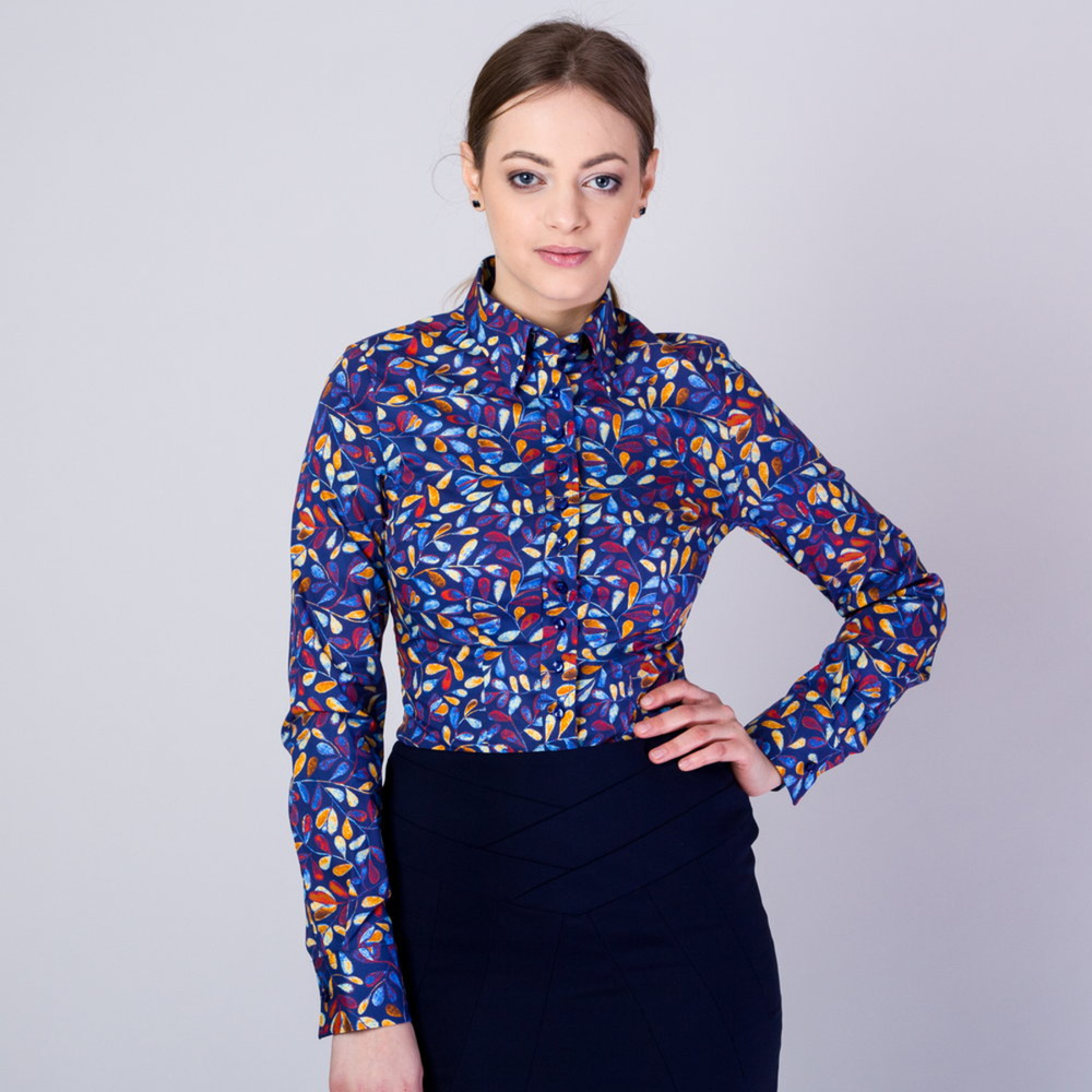 Modern women's shirt with colorful leaves pattern 9575