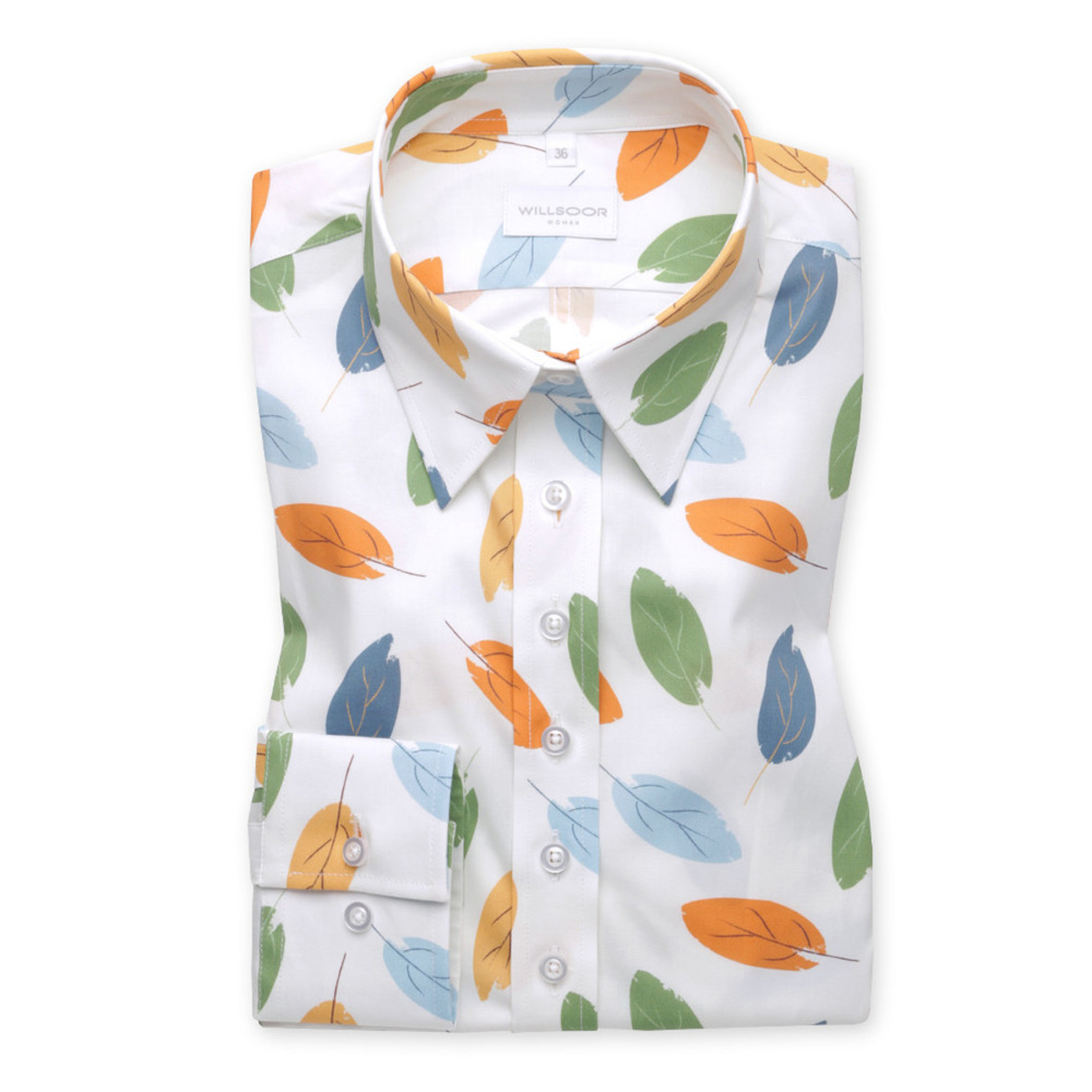 Women's white shirt with colored leaves pattern 9580